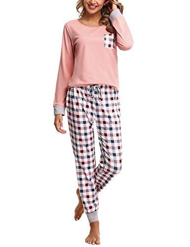 Pijamas Mujer Conjunto de Pijama a Cuadros para Dama Pjs Top Ropa de Dormir Camisa y Pantalones con Bolsillo Manga Larga Soft Lounge Sets Ropa de Cama Loungewear (B# Rosa, L)