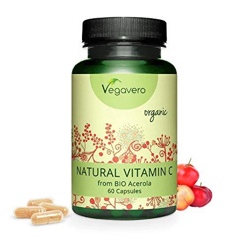 Vitamina C BIO Vegavero® | da Acerola | NATURALE, NON SINTETICA | 60 capsule | SENZA ADDITIVI | Vegan