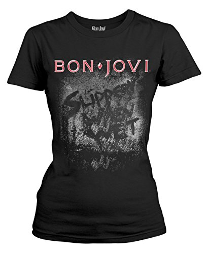Bon Jovi 'Slippery When Wet Album' Womens Fitted T-Shirt, Official, L to XL