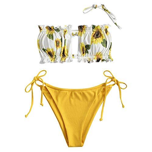 Conjunto de bikini Zaful para mujer sin tirantes, bandana, con cordón y volantes, de corte alto, prenda de baño monocolor Girasol M