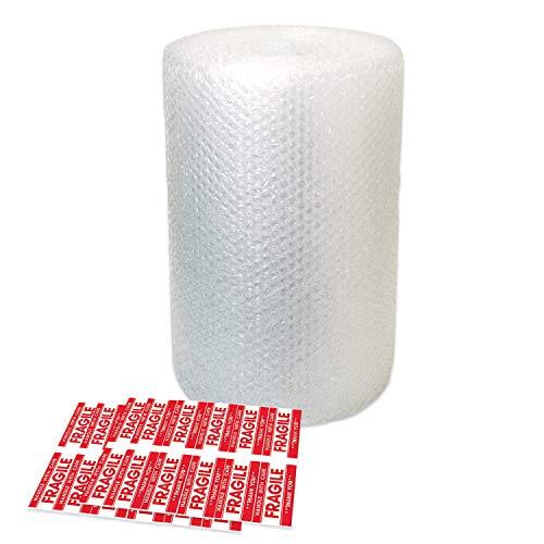 Rouleau de papier bulle 11 m – Petites feuilles de papier bulle avec 10 autocollants fragiles – Idéal pour emballage, emballage, colis, cartons de déménagement (1 paquet)