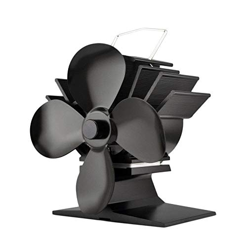 Silent Operation Small 4-Blade Heat Powered Stove Fan for Wood/Log Burner/Fireplace - Eco Friendly VOYTO