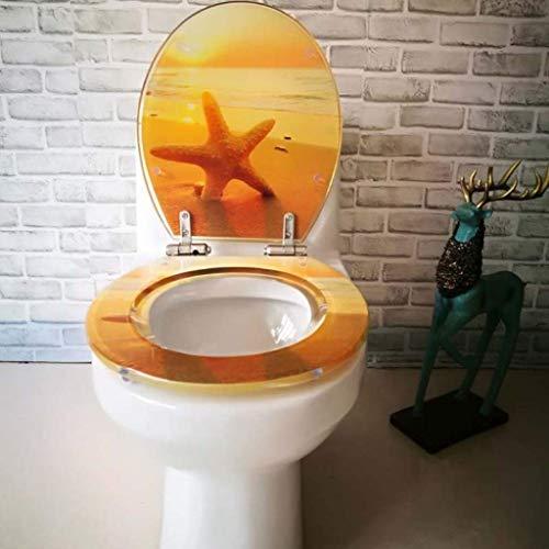 IAIZI WC-Sitz Big Seestern WC Deckel Toilettendeckel mit Verstellbarer Scharniere Quick Release Toilettensitzabdeckung verdickte Badezimmer Deckeln for V/U/O-Form-WC, OneColor-40~47 * 34~38 cm