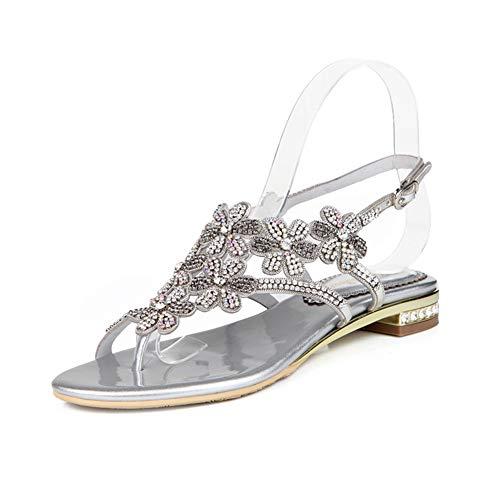 Sandalias de estrás para mujer, sandalias de moda bohemias grandes con base plana (talla 33-43), moda casual, 123, plata, 37