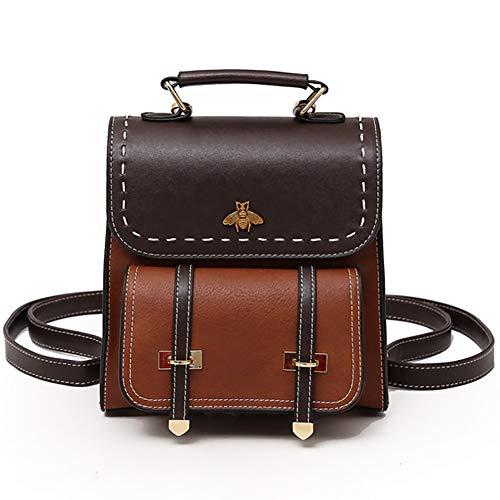 SOOKi Little Bee Vintage Women Backpack Simple Style Backpack College Backpack Bag Purse Stylish Crossbodybag- Dark brown