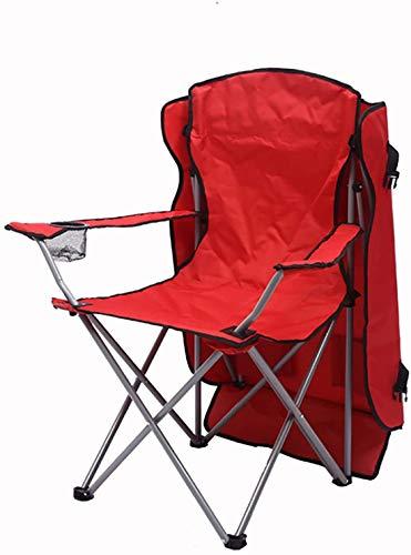 TXXM Silla de salón al aire libre para playa, plegable con bolsa de transporte, silla portátil resistente, silla de camping con toldo rojo, rojo