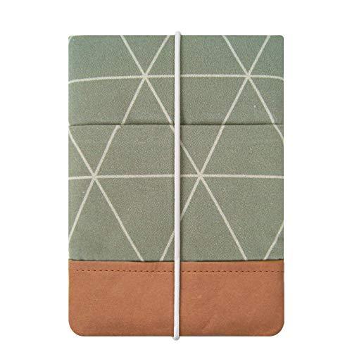 """Kuratist 6 Zoll eBook Reader Hülle - kompatibel mit 6"""" eReadern - Handgemacht aus Baumwolle und Papier (100% vegan) (auch geeignet für Tolino Shine 2/3 HD/Vision 2/3/4 HD), Triangles Sage"""