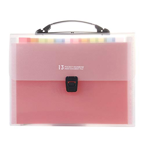 WQJ Folders Document Organizer,13 Expanding Multicolored Pockets A4 Letter Size Portable Filing Pouch