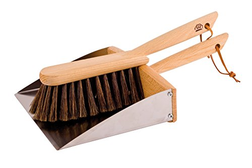 Redecker Horsehair Hand Brush and Dust Pan Set with Oiled Beechwood Handles with Magnet, 14-1/8-Inches