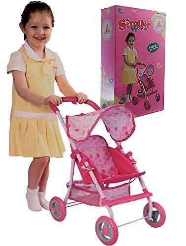 Sonia Baby Dolls Pink Pram Girls Toy Buggy Pushchair Pram with Rubber wheels