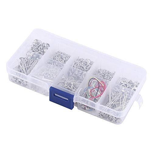 610 piezas accesorios de joyería kit de fabricación de joyas kit de bricolaje de arranque con anillos de salto pendientes ganchos de cable extremos colgar cuerdas y cuentas de espaciador