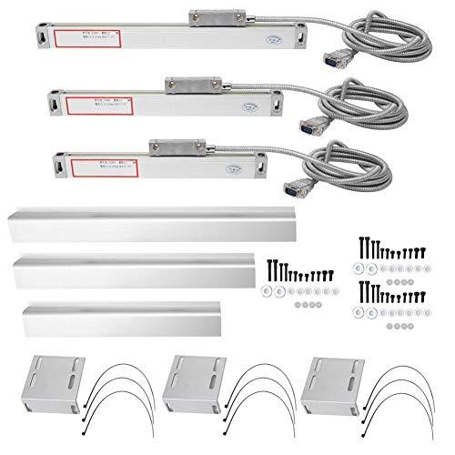 CNC Fräsen Dreh Kit Set, 3 stücke Aluminiumlegierung 5um Hohe Genauigkeit Lineare Skala für 2AE/3AE Achse DRO Digitalanzeige(0-50 mm 0-300 mm 0-750 mm)