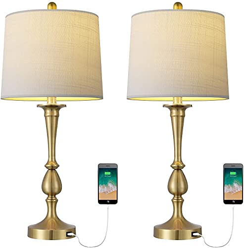 MAXK Lámparas para Mesa De Comedor,Lámparas para Mesa Nocturna, Lámpara De Mesa USB Conjunto De 2 Lámpara De Escritorio De Oro De Noche Moderna con Puerto USB para Sala De Estar Dormitorio Dormitorio