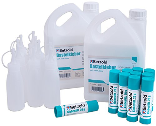 Betzold 57397 - Bastelkleber-Set - Klebestift Klebstoff Basteln Flüssigkleber