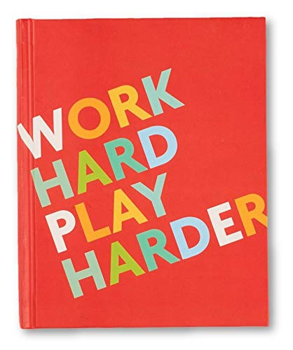 Fitlosophy Fitspiration 'Work Hard Play Harder' Fitness Goal Tracker e Diario di gratitudine Quotidiano Unisex-Adulto, Rosso, Taglia Unica