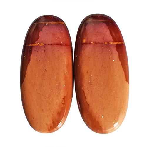 Coppia di orecchini in mokaite naturale diaspro cabochon, forma ovale, dimensioni 35 x 15 x 4,5 mm, fatti a mano coppia Mookaite AG-12285