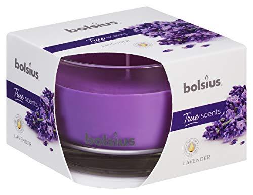 Bolsius Candela Profumata in Vetro 63/90 mm Medium, Colore Viola, Fragranza Lavanda, True Scents