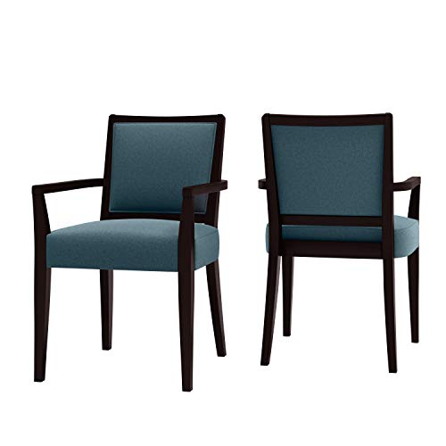 Domesis Upholstered Arm Dining Chair in Espresso and Denim Fine Polyester (Set of 2)