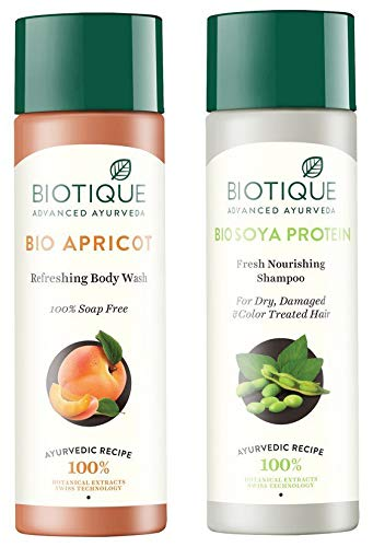 Biotique Bio Apricot Refreshing Body Wash, 190ml And Biotique Bio Soya Protein Fresh Nourishing Shampoo, 190ml