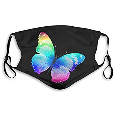 HOTBABYS Colorful Butterflie Reusable Activated Carbon Filter Face Covering with Replaceable Filter for Men Women S
