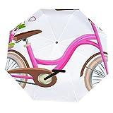 Paraguas anti-UV para sol/lluvia,Bicicleta rosa con carro lleno de flores y corazones por pétalos aislados en Paraguas de viaje a prueba de viento: compacto, automático.