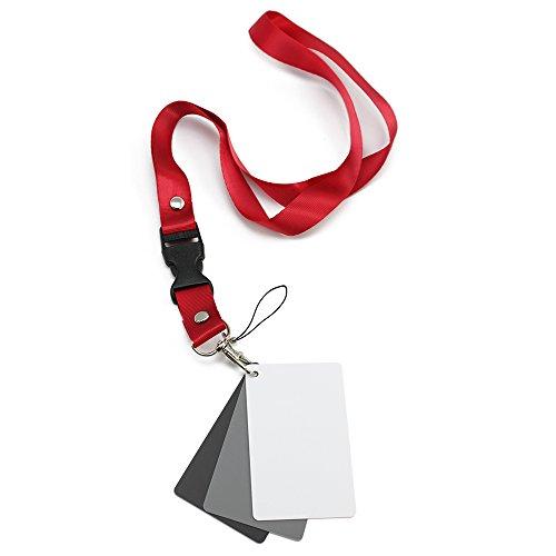 com-four® Weißabgleich Karten-Set mit Schlüsselanhänger-Band, Graukarten im Taschenformat