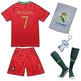 Trikotholic Equipación de fútbol de Portugal Ronaldo, Temporada 2018/19, con Pantalones Cortos y Calcetines para niños, 7-8 años