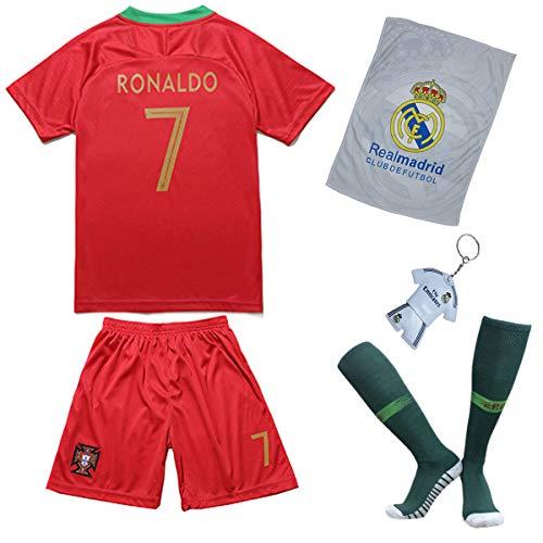 Trikotholic Equipación de fútbol de Portugal Ronaldo, Temporada 2018/19, con Pantalones Cortos y Calcetines para niños, 9-10 Años