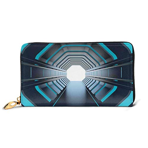 Women s Long Leather Card Holder Purse Zipper Buckle Elegant Clutch Wallet, Tunnel With Neon Lights Passage Mercury Lunar Orbit Inspired Stardust Art,Sleek and Slim Travel Purse