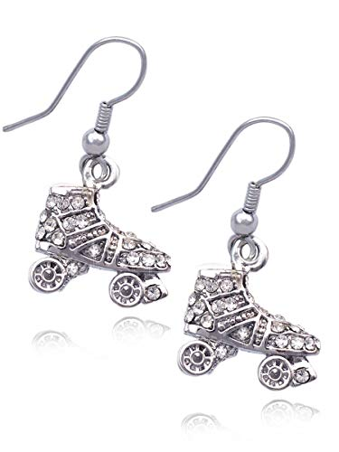 3D Roller Skates Skating Shoes Pendant Necklace Jewelry (Clear Hook Earrings)