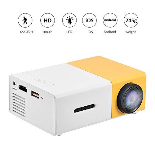 Mini proyector LED,24~60 Pulgadas Proyector de Video HD 1080P con 1000 lúmenes, Sonido estéreo claroProyector portátil para Cine en casa,Soporte HDMI/AV/USB(Amarillo de la UE)