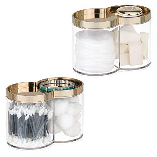 mDesign Juego de 2 cajas organizadoras de plástico – Caja de almacenaje, ideal como dispensador de discos de algodón o bastoncillos – Cajas apilables con práctica tapa – transparente/latón