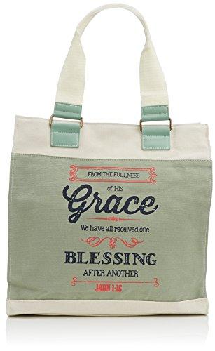 Christian Art Gifts Cadet Blue Retro Canvas Tote Bag   Fullness of Hs Grace John 1:16   Magnetic Closure Heavy Cotton Canvas Lined Handbag for Women