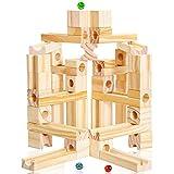 Onshine 60 Pièces Jeux Bloc Construction Enfant Jouet Circuit Bille Bois,Bricolage Puzzle Enfant