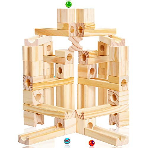 Onshine 60 Pezzi Giochi Mattoncini Costruzioni Legno Pista Biglie Marble Run Giocattolo per Bambini 3 Anni