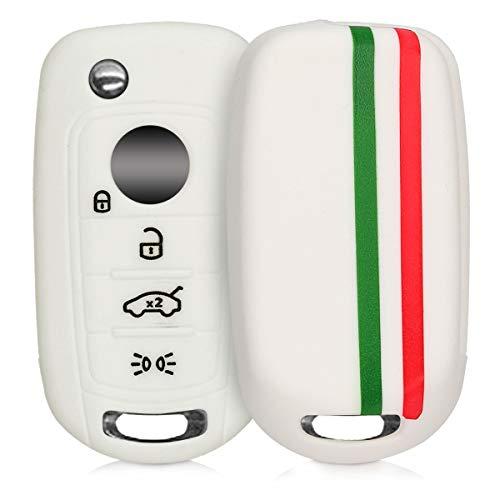 kwmobile Funda Compatible con Llave Plegable de 4 Botones para Coche Fiat - Carcasa Protectora Suave de Silicona - Bandera Italiana