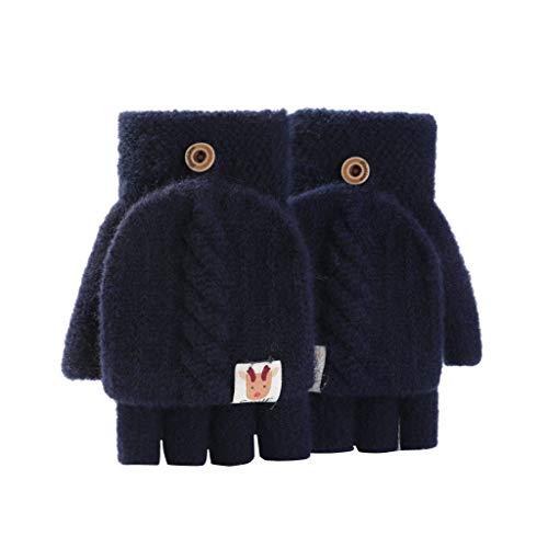 Halbfinger-Handschuhe für Damen, Fahrradhandschuhe, warme und kalte Handschuhe, für kaltes Wetter, Thermo-Handschuhe (Marineblau, Einheitsgröße)