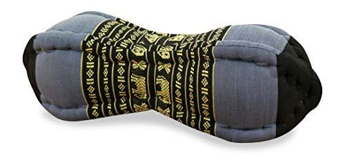 livasia Papaya Nackenkissen der Marke Asia Wohnstudio, asiatisches Nackenstützkissen, kleine Nackenrolle mit Kapokfüllung, Wellness- und Relaxkissen, (blau/Elefanten)