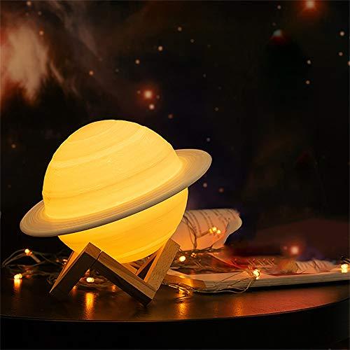Wankd LED Mond Lampe, 3D-Druck Saturn-Lampe LED Nachtlicht,15cm 3D Mondlampe, 16 Farben Auswählbar und dimmbar Nachtlicht,USB Wiederaufladbar, Geschenke für Schlafzimmer Deko