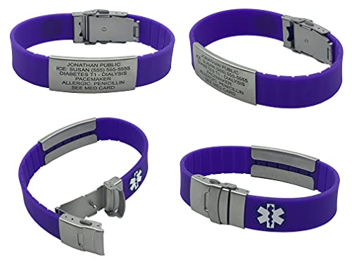 Silicone Sport Medical Alert ID Bracelet - Purple (Incl. 6 Lines of Custom Engraving). Choose Your Color! -