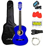 Martin Smith Acoustic Guitar Kit with Gig Bag, Plectrums, Pick Holder, Tuner, Strap & Spare Strings 6 Pack, Right, Blue (W-38-BL)