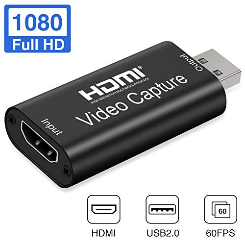 Aokeou Convertidor De Captura De Vídeo, HDMI A USB 2.0 Capturadora Digitalizadora De Vídeo Game Capture HDMI - USB 2.0 1080P 60FPS HD Dispositivo De Transmisión (Negro)