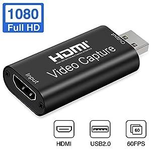 Aokeou Convertidor De Captura De Vídeo, HDMI A USB 2.0 Capturadora Digitalizadora De Vídeo Game Capture HDMI - USB 2.0 1080P 60FPS HD Dispositivo De Transmisión (Negro)