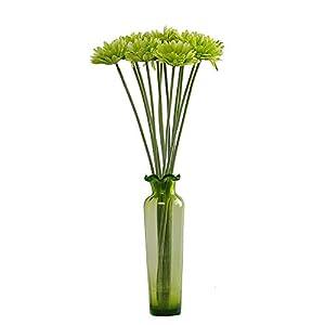 Silk Flower Arrangements cn-Knight Artificial Flower 12pcs 22'' Long Stem Silk Daisy Faux Mums Flower Chrysanth Gerbera for Wedding Bridal Bouquet Bridesmaid Home Decor Office Baby Shower Prom Centerpiece(Green)