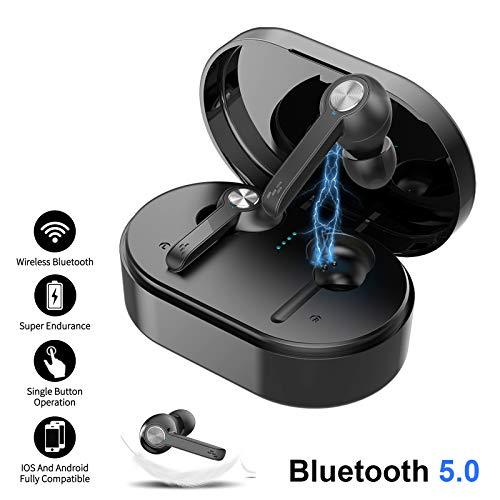 Xgody Kabellose Ohrhörer, Bluetooth 5.0, In-Ear-Kopfhörer mit Mikrofon, 3000 mAh, Ladehülle, wasserdichtes Headset