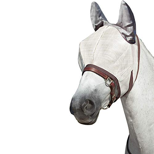Kensington Natural Collection Fly Mask with Webbing and Ears for Horses — Protects Face, Eyes, Ears from Flys and UV Rays — Breathable, Non Heat Transferring Makes it Perfect Year Round, Medium, Grey