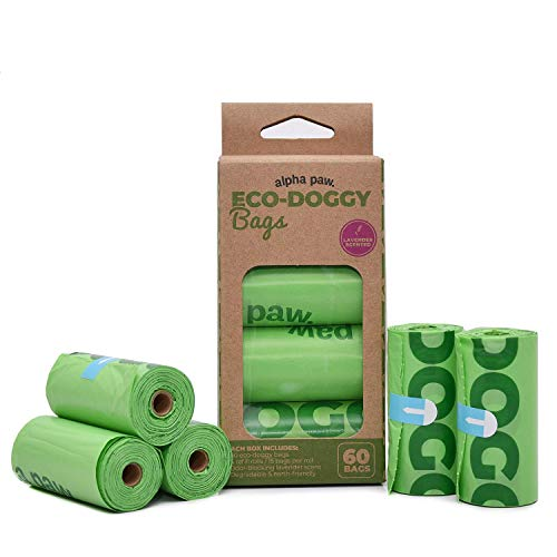 Alpha Paw Eco Doggy Bags - Odor Blocking, Biodegradable Dog Poop Bags - Natural Lavender, Leak Proof Doggie Waste Bag - Eco-Friendly, Puppy Poo Bags