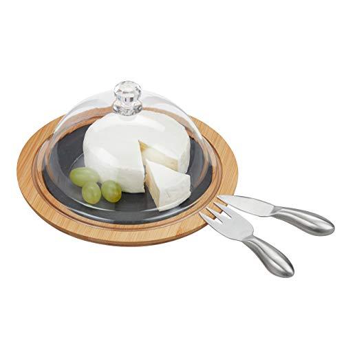 Relaxdays Quesera Redonda, con Cubiertos, Tabla para Servir, Cuchillo y Tenedor, 13 x 25 cm, Bambú y Pizarra, Marrón