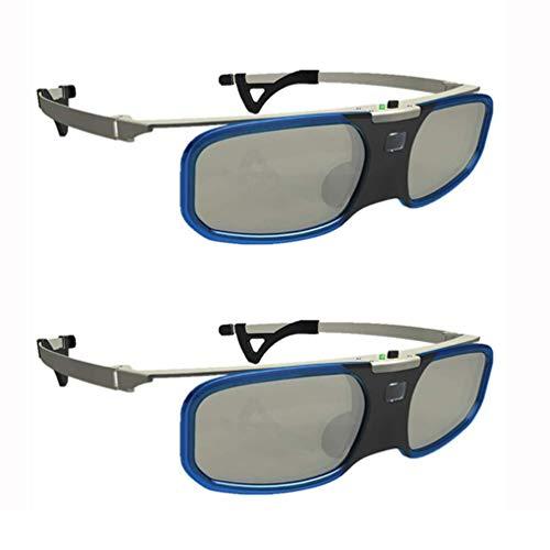 ZHLL 3D-DLP-Link-Brille, 3D Active Shutter Brille Wiederaufladbare 96-144Hz Für Alle 3D-DLP-Link-Projektoren Startseite Filme Und TV Geeignet Für Acer LG NEC Optoma,Blau,2PCS