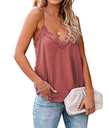 lime flare Women Sexy V Neck Lace Trim Satin Cami Tank Tops Dressy Silk Lacy Camisole Shirt (Medium,C# Lavender Delicate Balance Lace)